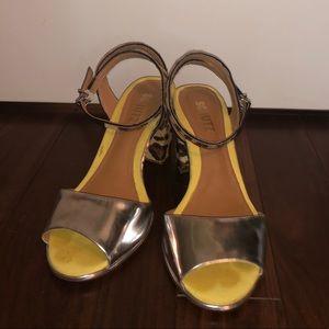 SCHUTZ Silver Leopard Leather Mid Sandals 37/7